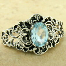 GENUINE SKY BLUE TOPAZ VICTORIAN 925 SILVER ANTIQUE FINISH RING SIZE 7,    #1154