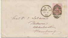 "2427 1874 QV 3 d rose pl.14 (CD) wing margin Duplex-cancel ""LONDON / 89"" HAMBURG"