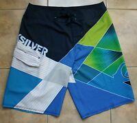 Quiksilver Board Surf Swim Shorts - Size 34  Multi-color