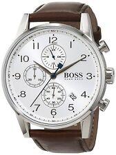 Hugo Boss Original 1513495 Men's Navigator Classic Brown Leather Watch 44 MM