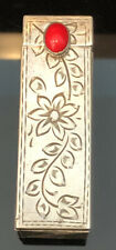 Italian 800 Silver Coral Accented Lipstick Case Floral Engraved Motif