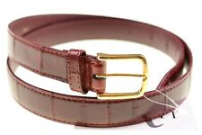 GENUINE EELSKIN Exotic Skin Leather Red Brown Gold Buckle Dress Belt 36