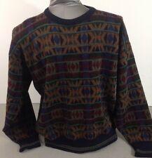 John Ashford Funky Retro Pattern 90s Wool Sweater Large L Made In Italy