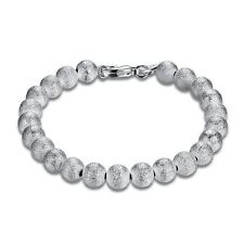 925 Silver Plt Frosted 4Mm Bead Ball Bracelet / Bangle Anklet Chain Ladies A