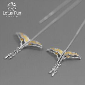 Einzigartige Drachen Schmetterling Echt 925 Silber Schmuck lange Frauen Ohrringe