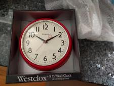 "Retro Vintage Kitchen Wall Clock Round Big Numbers 9.5"" Red Cherry 1950s"