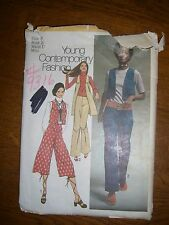 Simplicity 9316 Young Junior/Teen & Misses Vest, hip hugger pants, gaucho 1971