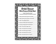 24 Bridal Shower Wedding Damask Who Knows Bride Best Game Cards 5x7