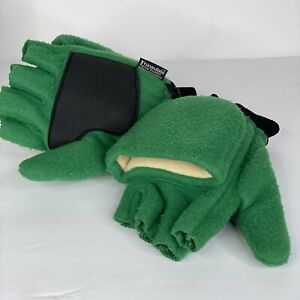 THINSULATE Fingerless Gloves Convertible Mittens Green Thick Knitted Size L