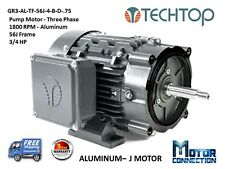 3/4 HP, Electric Motor, PUMP, 1800 RPM, 56J, 3-Phase, NEMA Premium