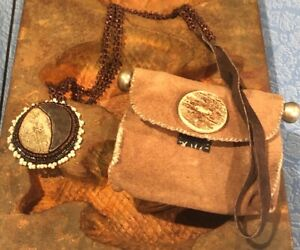Vintage Lot SEED BEAD Pewter ANTLER HORN NECKLACE /Leather Pouch Bag Handmade