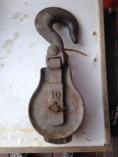 Vtg Large Antique Steel Very Heavy Industrial Ship Tool Hook & Pulley steampunk
