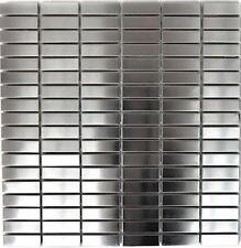 Mosaik silber silver Edelstahl gebürstet matt Fliesenspiegel 129-1548D 10Matten