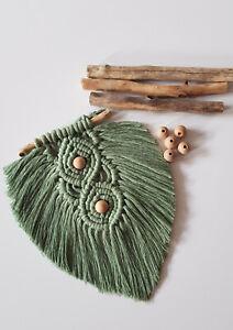 Macrame Wall Hanging Feather Leaf Boho Driftwood  decor cotton Handmade UK