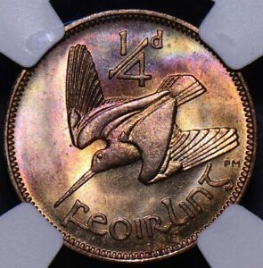NG0143 Ireland 1959  1/4 Penny NGC MS 65 RB red blue purple toning