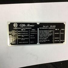 ALFA ROMEO 750 + 101 information + lubrication  metal plates  (REF 189)