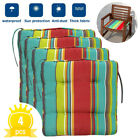 4Pcs Stripe Waterproof Chair Cushion Seat Pad Patio Tie On Garden Outdoor New