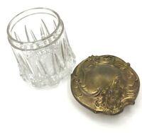 SALE Antique Glass Tobacco HUMIDOR Cigar Biscuit Jar Nouveau Brass Lid