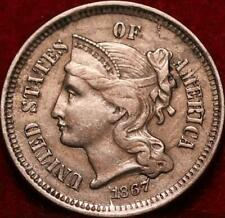 1867 Philadelphia Mint Nickel Three Cent Coin