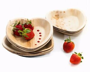 25pcs Disposable Palm Leaf Heart Plate/Bowl - Eco Natural Dinner Party Wedding