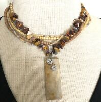 Rectangle Ammonite Fossil Bohemian Beaded Necklace Artisan handmade USA 1705