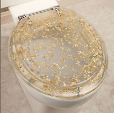 Ginsey Standard Resin Toilet Seat with Chrome Hinges, Gold Foil