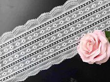 1 Meter Spitzenborte elastisch Wäschespitze Band Bordüre Weiß 16 CM breit