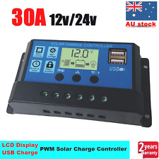 30A 12V/24V Solar Panel Battery Regulator Charge PWM Controller LCD USB 30AMP X