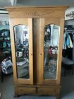 Antique Oak Knock Down Armoire with Mirrored Doors