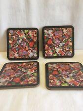 "4 Christopher Radko Christmas Coasters ...Never Used 4x4"""