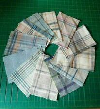 Abraham Moon Pure Wool Fabric Samples x 12 Blue Beige Tweed Tartan