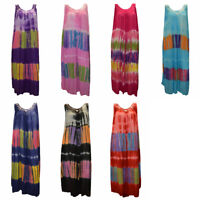 PLUS SIZE BOHO HIPPIE TIE DYE FESTIVAL MAXI DRESS MULTI 16 18 20 22 24