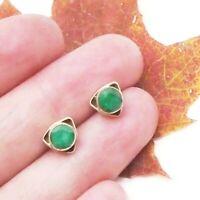 Indischer Smaragd grün eckig Design Ohrringe Ohrstecker 925 Sterling Silber neu