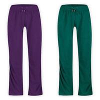 Womens Ladies Fleece Full Length Track Pants Elastic Waist Sport Workout Joggers