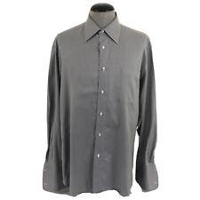 Borrelli Napoli Mens 16.5-35 French Cuff Gray White Pincheck Italian Dress Shirt