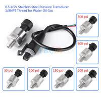 1/8NPT Stainless Steel Pressure Transducer Sender Sensor 0-4.5V Oil Fuel Air SP