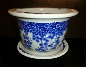 Vintage Blue & White Chinese Traditional Style Ceramic Plant Pot & Saucer