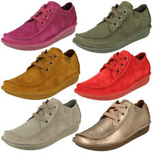 Ladies Clarks Funny Dream Casual Leather Lace Up Flat Shoes - D Fitting
