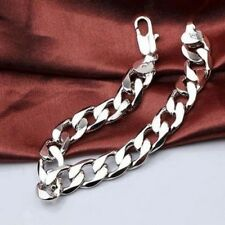 Heavy Mens 20cm 925 Sterling Silver Curb Link Chain Bracelet Thick Chunky Gift