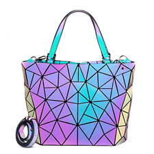 丿New Geometric Luminous Purses and Handbags for Women Holographic Reflective Bag