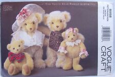 """Vintage Vogue Craft Pattern 8958 Plush Bear Doll Family 13"""" and 9.5"""" Accessories"""