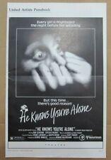 HE KNOWS YOU'RE ALONE ORIGINAL PRESSBOOK 1980 NO CUT OUTS TOM HANKS SLASHER FILM