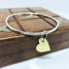 Chunky Sterling Hammered Bangle with Gold Heart Attached with Chunky Ring