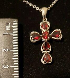 Red Garnet Cross Pendant