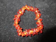 Bracelet Cluster Crystals Bright Deep Orange Shiny Stretchy Bling Fashion CHIC