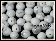 FREE 100pcs Jewelry Making White Turquoise Round Charms Loose Beads Gemstone 6MM