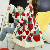 Womens 2020 Fashion Heart Shaped V-Neck Loose Knitted Sweater Cardigan Coat SKGB