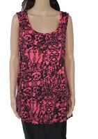 MNY Womens Tank Top Pink Combo Size 1X Plus Printed Stretch Scoop-Neck $49 274