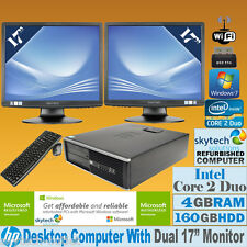 "FAST HP PC CORE 2 DUO DUAL SCREEN 2 x 17"" TFT CHEAP FULL SET DESKTOP WIN 7 Wi-Fi"