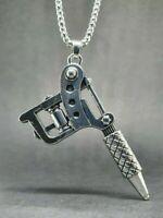Tattoo Gun Pendant .925 sterling silver Biker Gothic Artist feeanddave